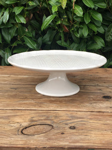 French Cake Stand Unusual Fluted Edge Antique Porcelain