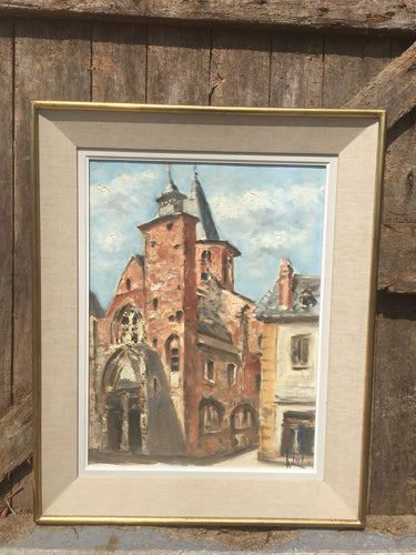 French Vintage Original Oil Painting on Boatd Signed & Dated 1967