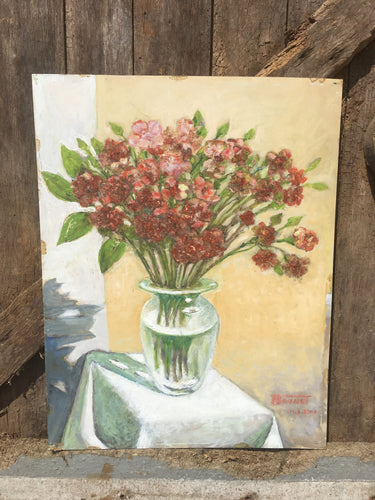 French Original Oil Painting On Board | Flower Vase | Colourful Vintage Picture