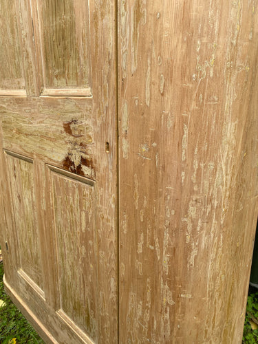 Rare Antique Victorian Dry Scraped Curved Pine Cupboard