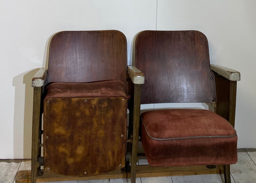 Pair of French Antique Cinema Seats