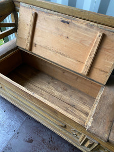 RARE Antique European Storage Bench Totally Original Condition