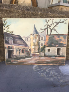 "French Original Painting ""Chateau"" Architectural Oil on Canvas - Signed & Dated"