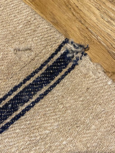 Load image into Gallery viewer, Antique Linen Grain Sack - triple Black Stripe