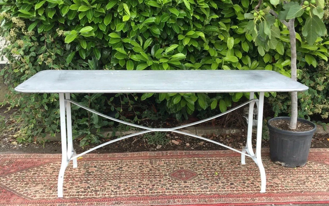 French Design Zinc Metal Garden Table 180cm/6ft seats 6-8