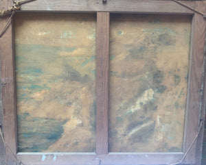 Pair of 1930's French Seascapes in Original Frames Oil Paintings