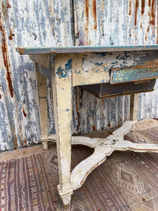 Antique Chippy Paint Kitchen Table with X Frame