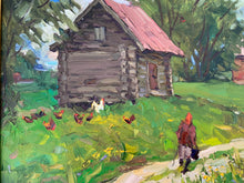 "Load image into Gallery viewer, Modern Russian ""Henhouse"" Oil on Canvas - Framed"