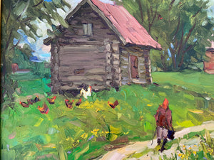 "Modern Russian ""Henhouse"" Oil on Canvas - Framed"