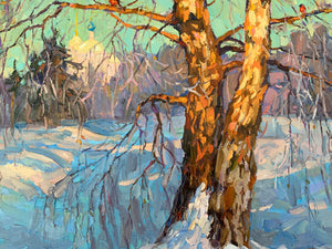 "Extraordinary ""Winter"" Modern Russian Oil on Canvas"
