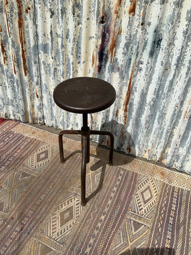 French Vintage Industrial Metal Tripod Adjustable Stool