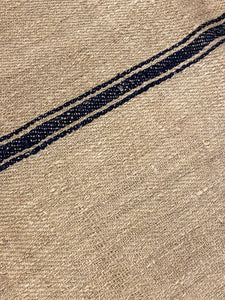 Antique Linen Grain Sack - triple Black Stripe