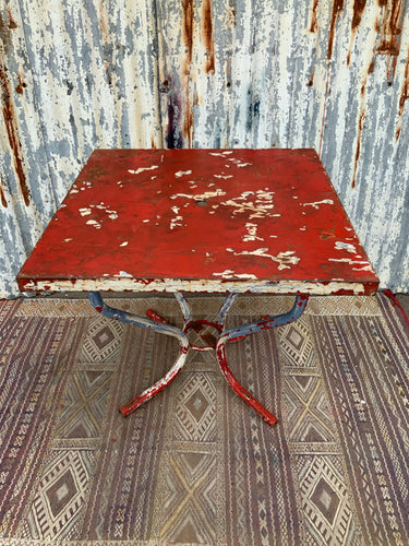 Retro Vintage Red Metal Table Chippy Paint