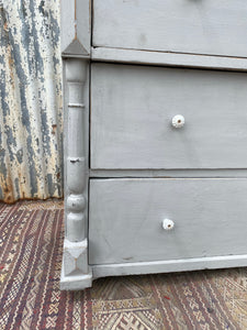 Antique European Painted Chest of Drawers Grey