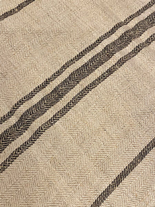 Antique Linen Grain Sack - Black Stripes