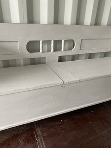 French Country Kitchen Storage Bench - Grey Painted