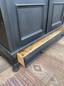 Antique European Vitrine Cupboard with Glass Doors Painted Black