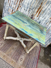 Load image into Gallery viewer, Antique Chippy Paint Kitchen Table with X Frame