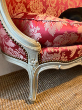 Load image into Gallery viewer, French Antique Pink Silk Sofa - Very pretty curved frame