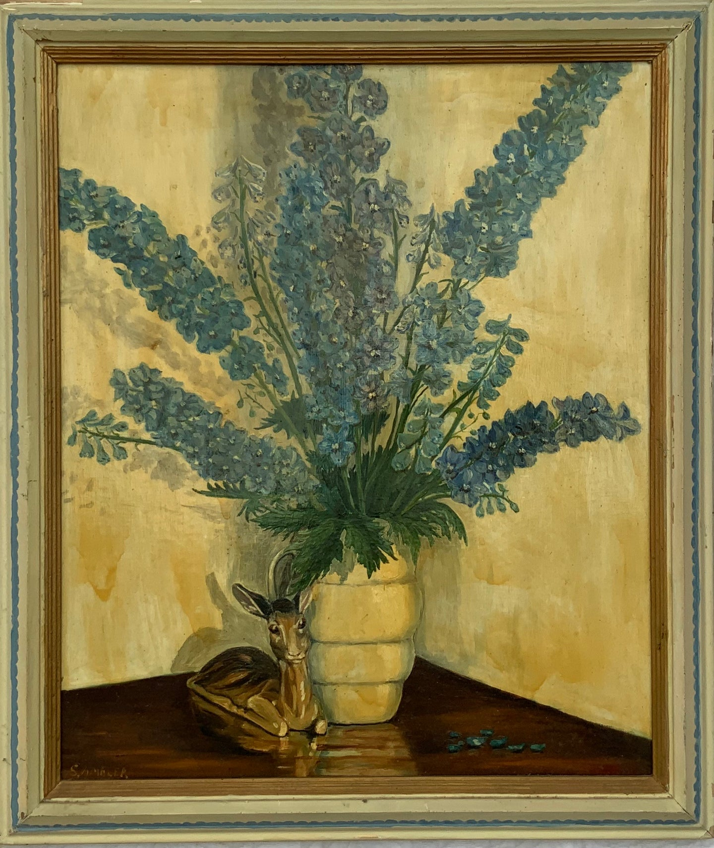 """Delphiniums"" Midcentury Oil on Board - Framed"