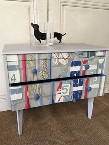 Mid Century Beach Theme Chest of Drawers