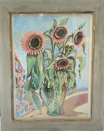 """Sunflowers"" Oil on Paper, Framed, Original, Signed"