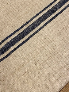Antique Linen Grain Sack - Triple Blue Stripe