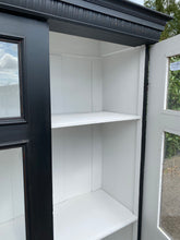 Load image into Gallery viewer, Antique European Vitrine Cupboard with Glass Doors Painted Black