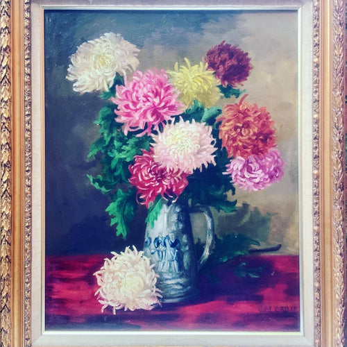 Chrysanthemums Oil on Canvas Dutch Antique Painting