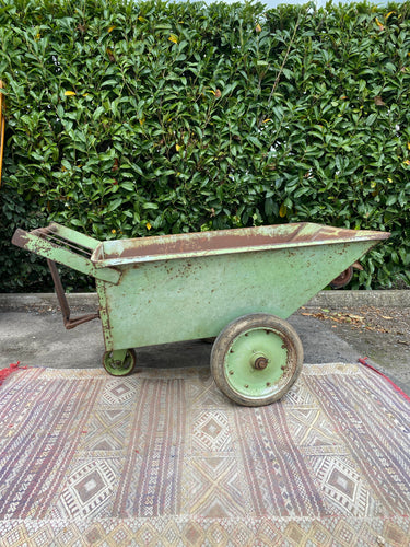Very Large Industrial Barrow - Original Green Chippy Paint