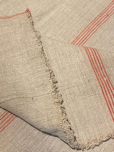 Antique Linen Sack Cloth - Large Piece - Pink / Pale red stripes