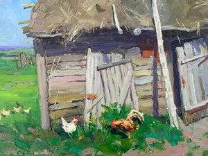 "Modern Russian ""Hay Barn"" Oil on Canvas Original Painting"