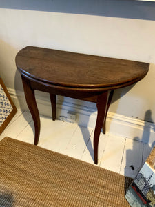 Antique French Demi Lune Card Table | Solid Oak