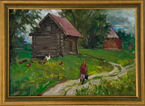 "Modern Russian ""Henhouse"" Oil on Canvas - Framed Painting"