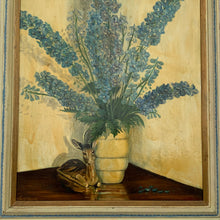 "Load image into Gallery viewer, ""Delphiniums"" Midcentury Oil on Board - Framed"