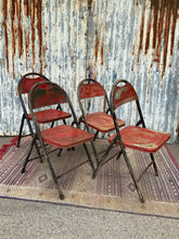 Load image into Gallery viewer, Retro Vintage Red Metal Folding Garden Chairs