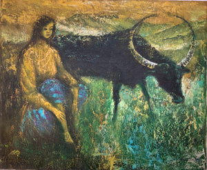 """Girl with Cow"" Interesting Vintage Oil Painting on Canvas"