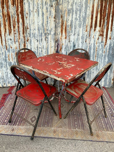 Retro Vintage Red Metal Folding Garden Chairs