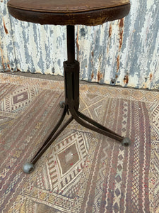 Unusual French Vintage Tripod Adjustable Metal Stool