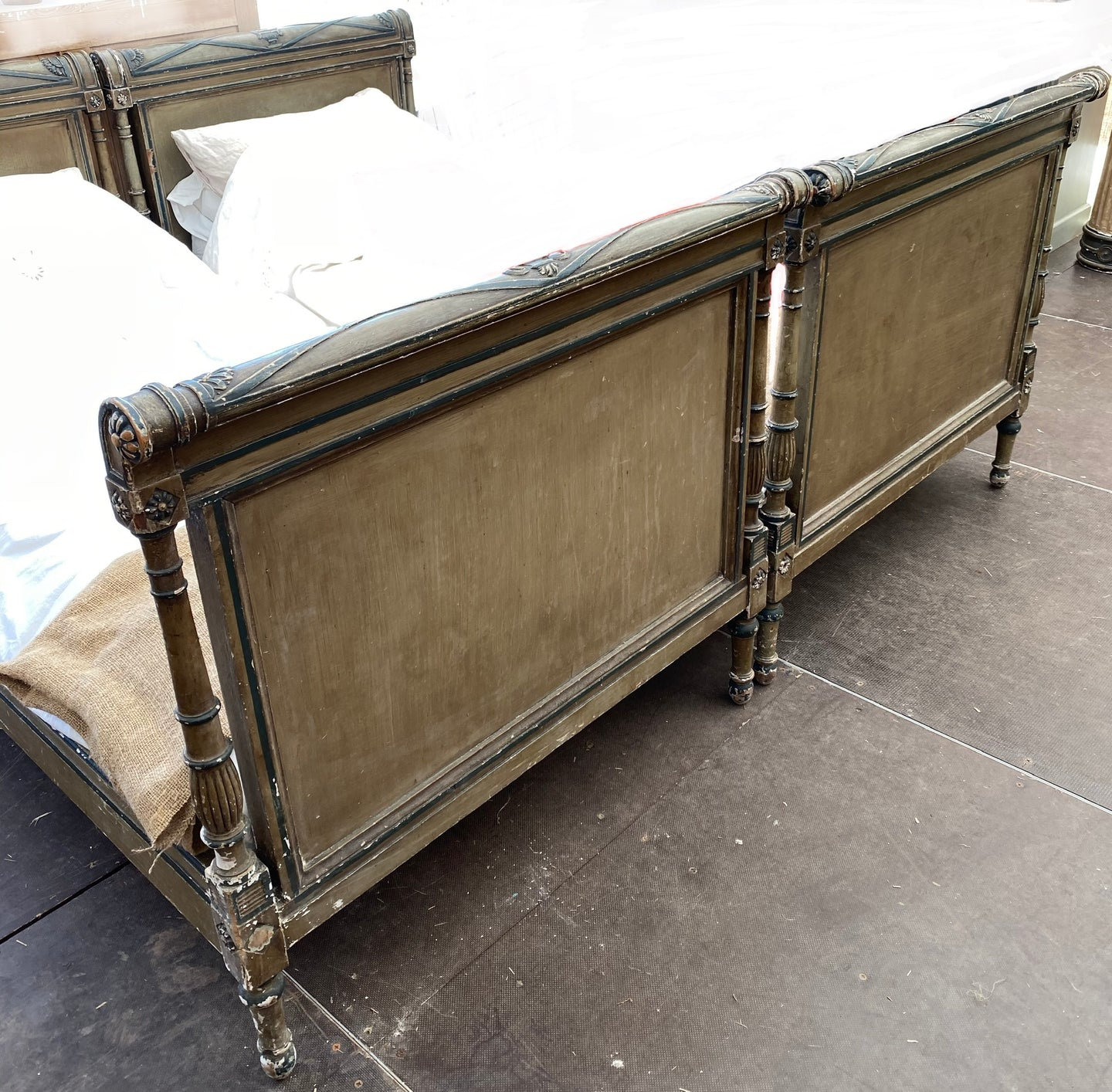 Exceptional Pair of French Antique Napoleon 111 Single Beds