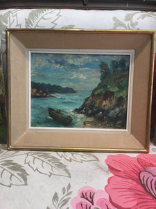 "Framed ""Boat in Cove"" Oil Painting Signed & Dated French Midcentury"