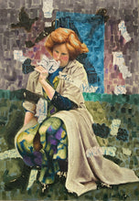 "Load image into Gallery viewer, Huge Original Oil Painting ""Picking Flowers"" by James WOOD 1889-1975"