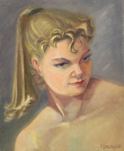 "Load image into Gallery viewer, BOURGOIS ""Jeune Fille"" Young Girl - Studio Portrait 1957 - Original Oil on Canvas Painting"