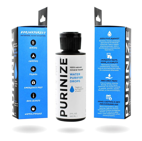 PURINIZE - The best and only patented all natural water purification solution, perfect for hiking, camping, disaster or emergency preparedness and survival.