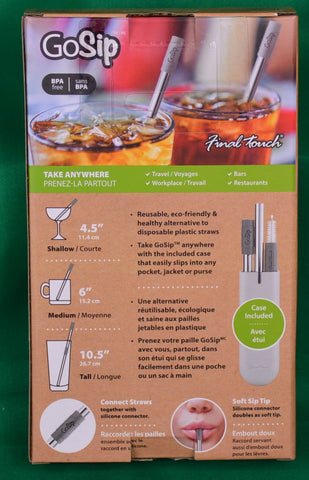 Go Sip multi-use reusable straw. (glass or steel) - Sparta Country Candles