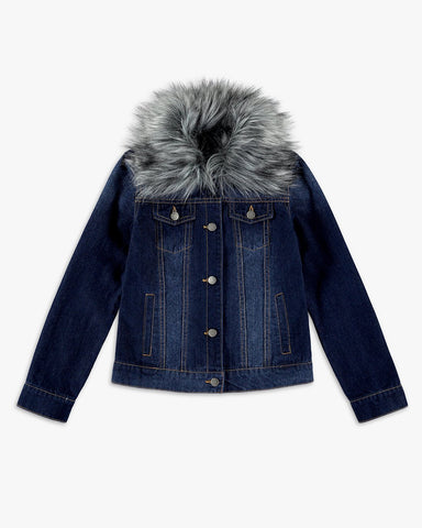 Faux Fur Collar Denim Jacket