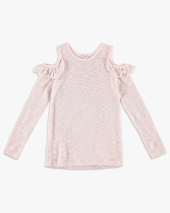 Cold Shoulder Sparkle Sweater