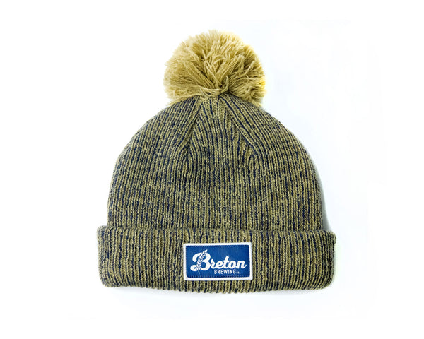 Logo Patch Beanie - Oatmeal/Navy