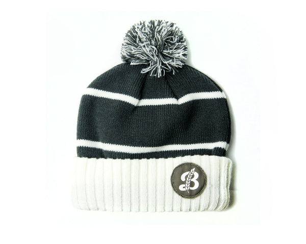 'B' Pompom Toque - Grey/White