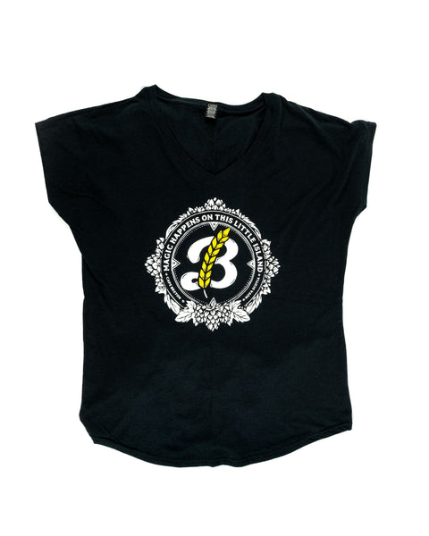 Women's 'Magic' V-Neck Tee - Black